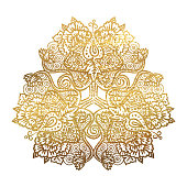 Vector illustration of tribal mandala with lotus flowers ans paisley element, golden foil textire ornament isolated on white