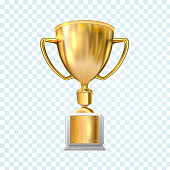 Golden trophy cup isolated on transparent background. Vector illustration