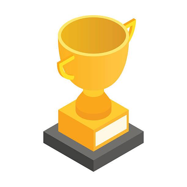 Goldene Trophäe Pokal isometrische 3d-Symbol – Vektorgrafik