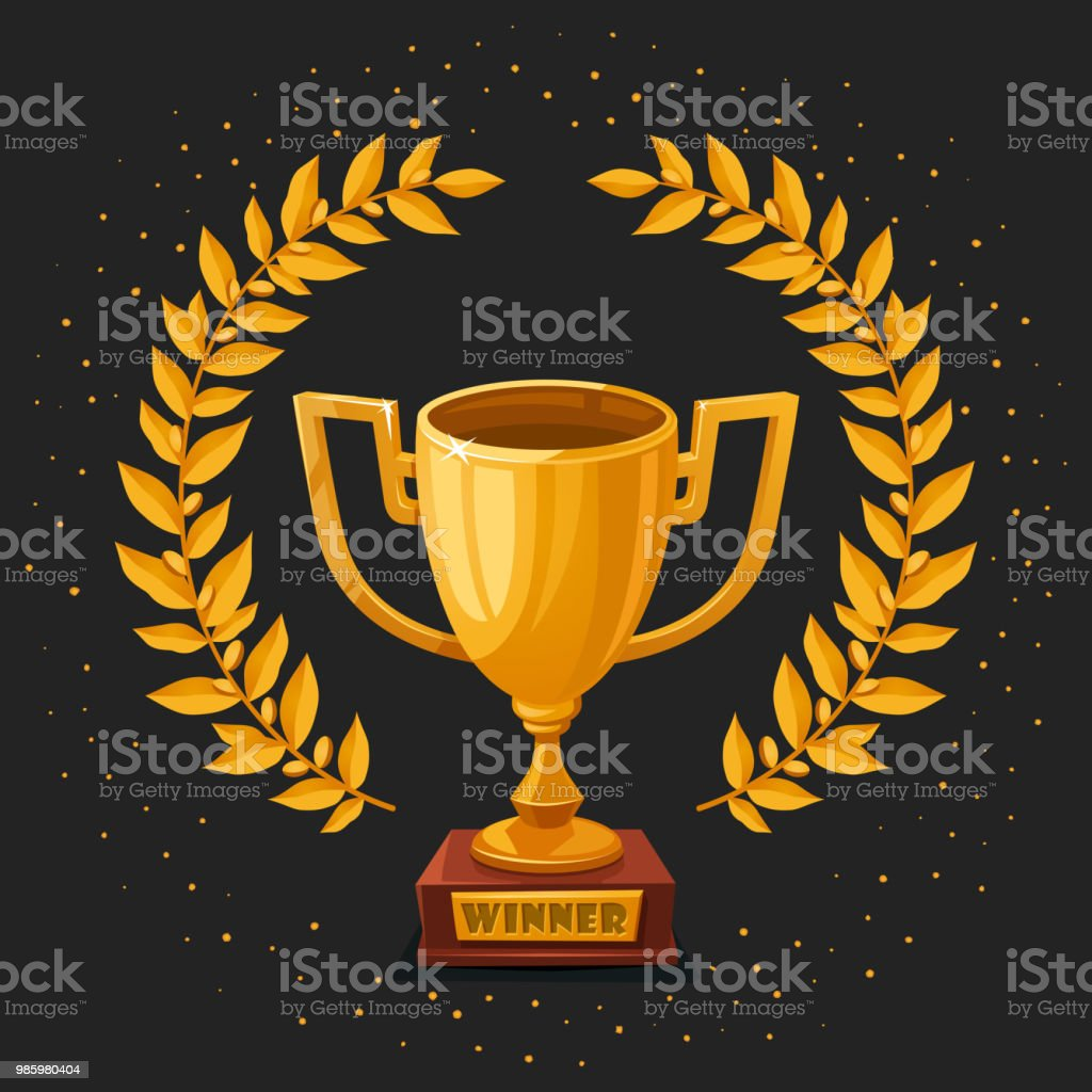 Golden Trophy Cup On Dark Background First Place Winner Award With Gold Laurel Wreath And