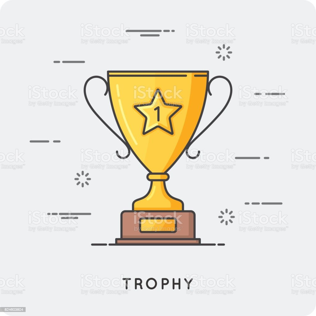 Golden trophy cup. Thin line concept. Vector illustration.