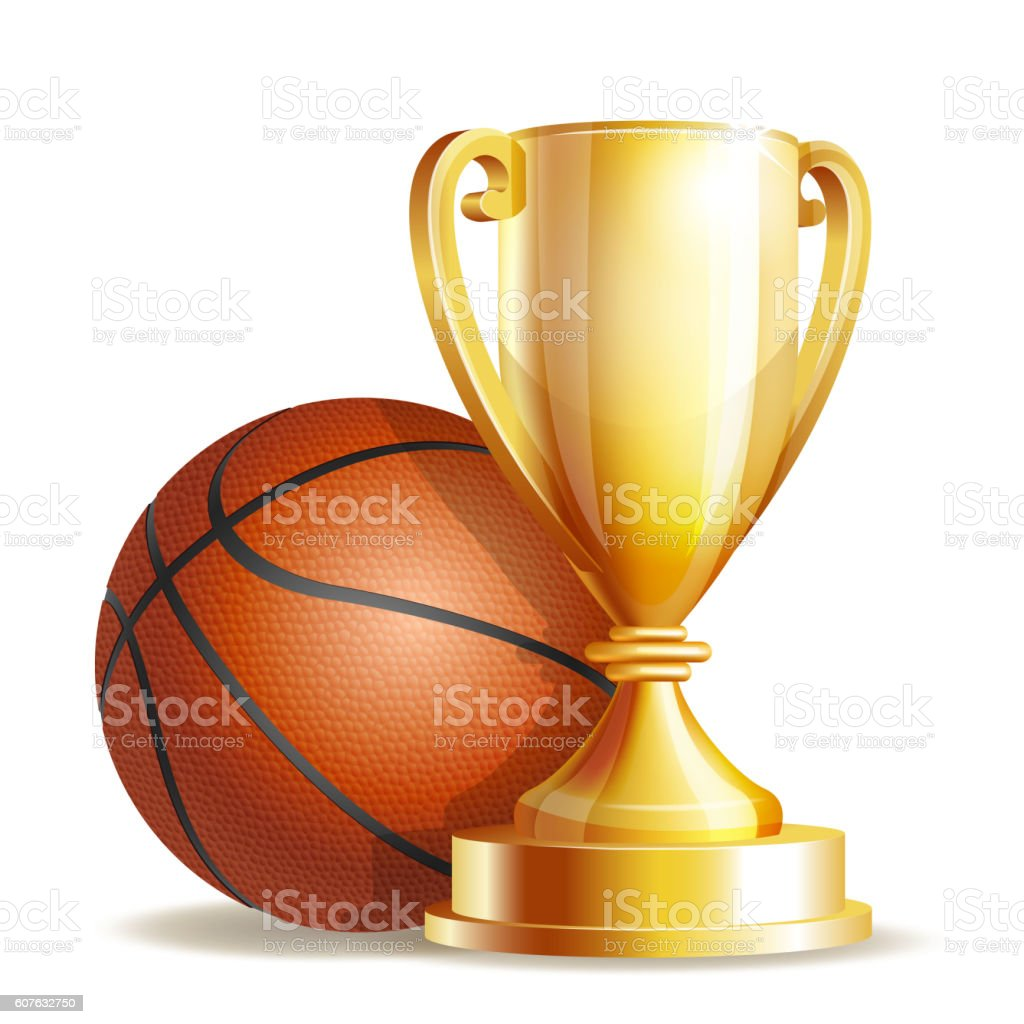 Golden trophy cup with a Basketball ball. vector art illustration