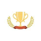 Golden trophy cup with laurel