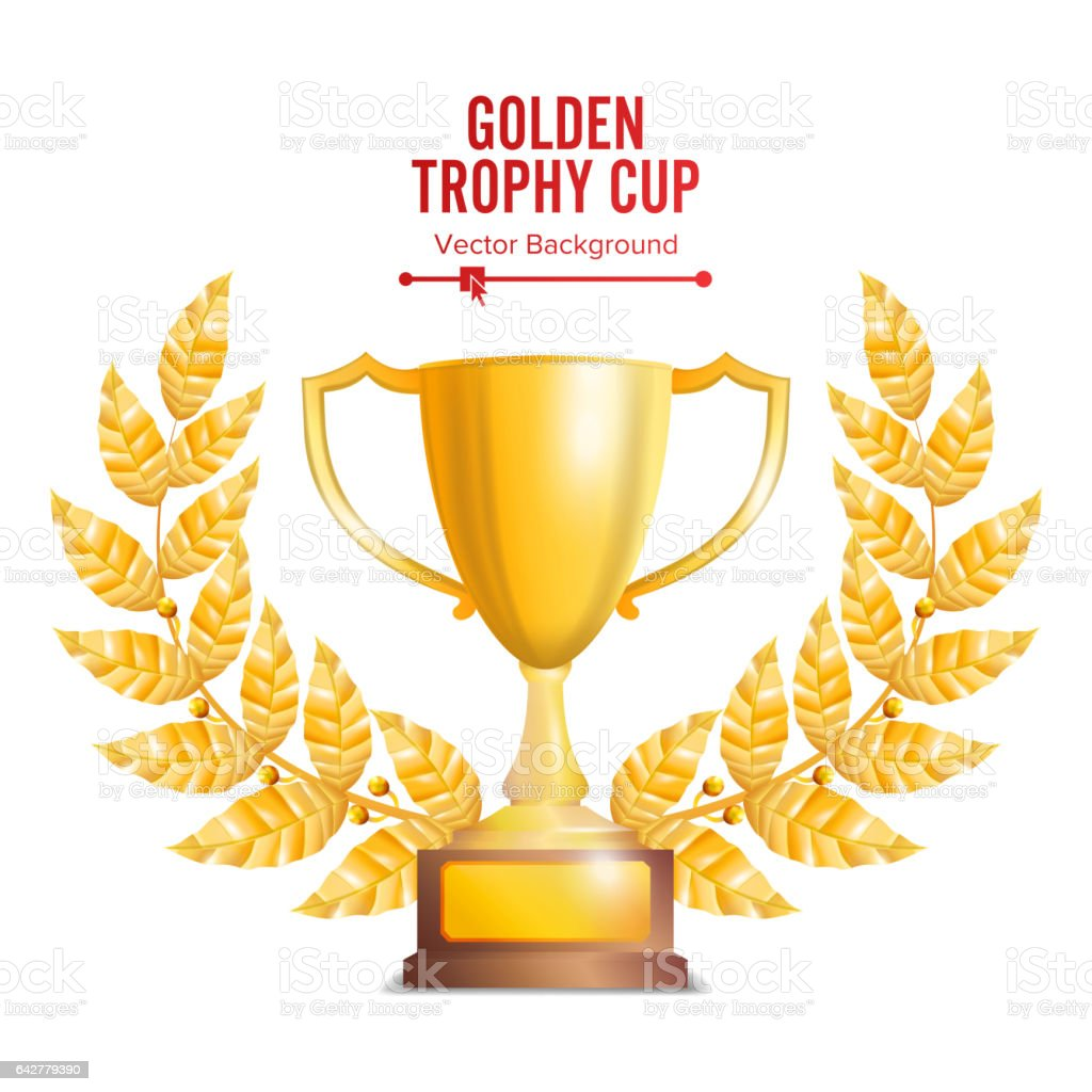 Golden Trophy Cup With Laurel Wreath Award Design Winner Concept Isolated On White