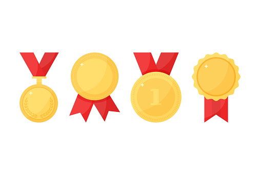 Golden trophy vector medals with ribbon, sport award, champion icons. Colored illustration