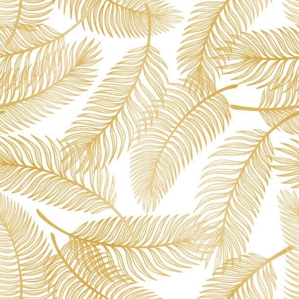 golden tropical palm tree liście wektor bezszwowy wzór. szkic liści palmowych. lato kwiatowe tło. tapety z roślinami tropikalnymi - tajlandia stock illustrations