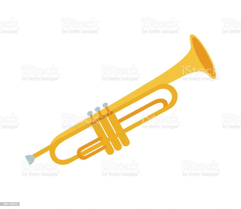 Golden trumpet isolated on white background. Vector illustration of trumpet. Wind musical instrument. vector art illustration