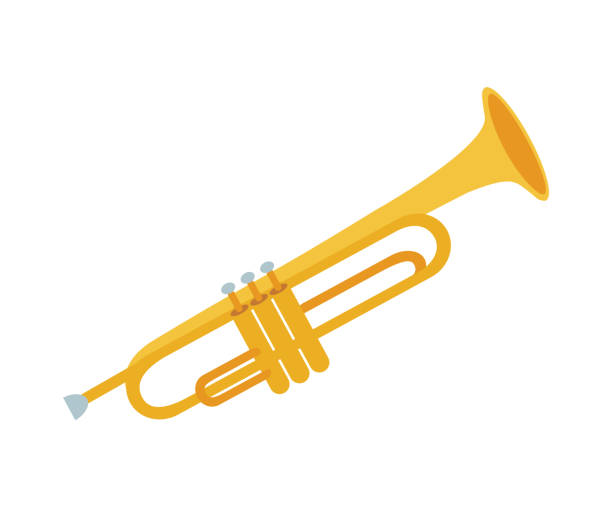 Golden trumpet isolated on white background. Vector illustration of trumpet. Wind musical instrument. vector art illustration