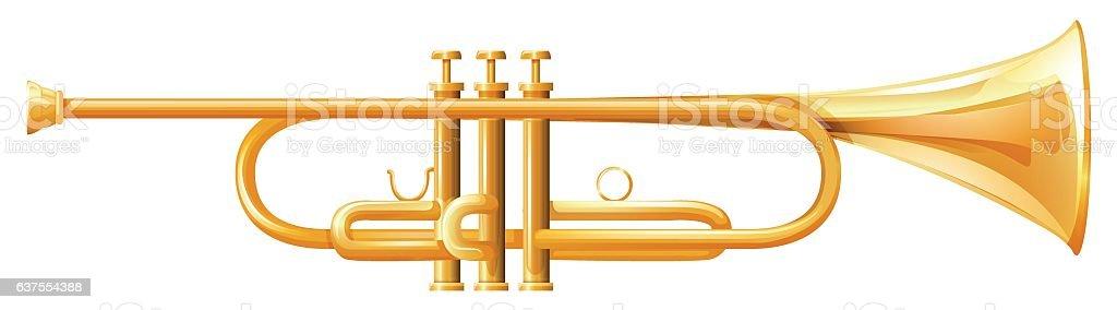 Golden trumpet on white background vector art illustration