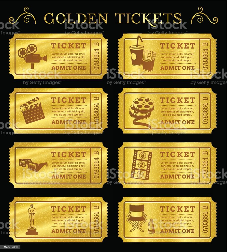 Golden Vector Cinema Tickets vector art illustration
