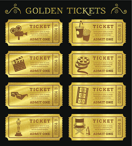 Golden Vector Cinema Tickets Set of eight golden vector cinema tickets and coupons templates. Vector file is organized in layers to separate Graphic elements from texture and text. movie ticket stock illustrations