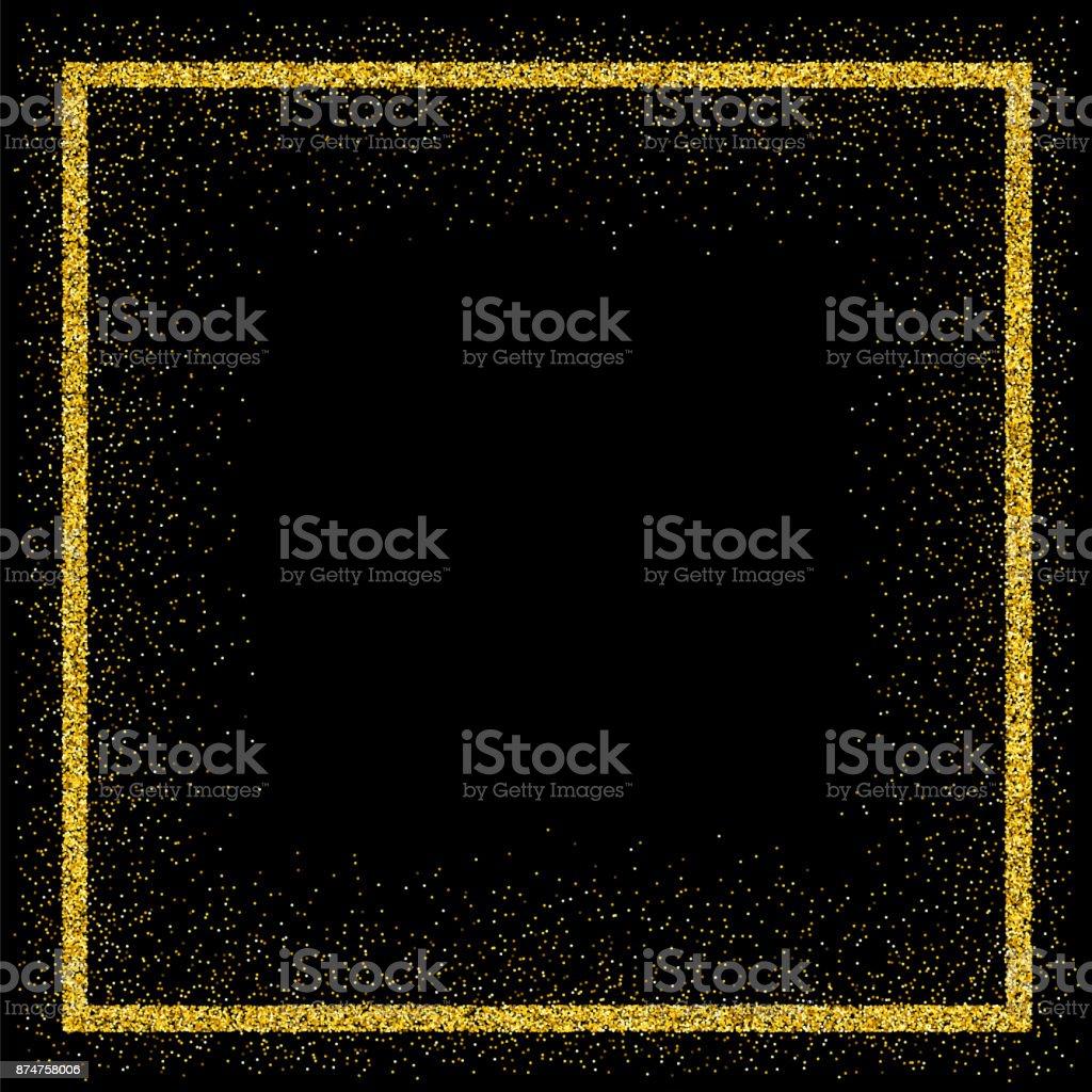 Gouden vector glitter framevectorkunst illustratie