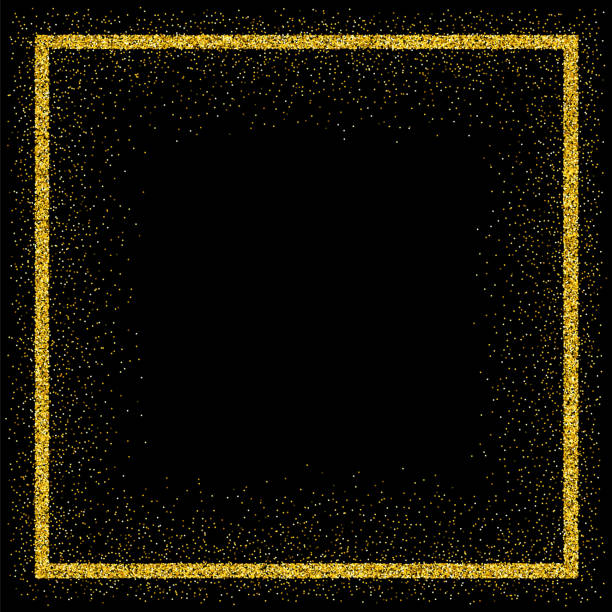 黄金ベクトル キラキラ フレーム - 光 黒背景点のイラスト素材/クリップアート素材/マンガ素材/アイコン素材