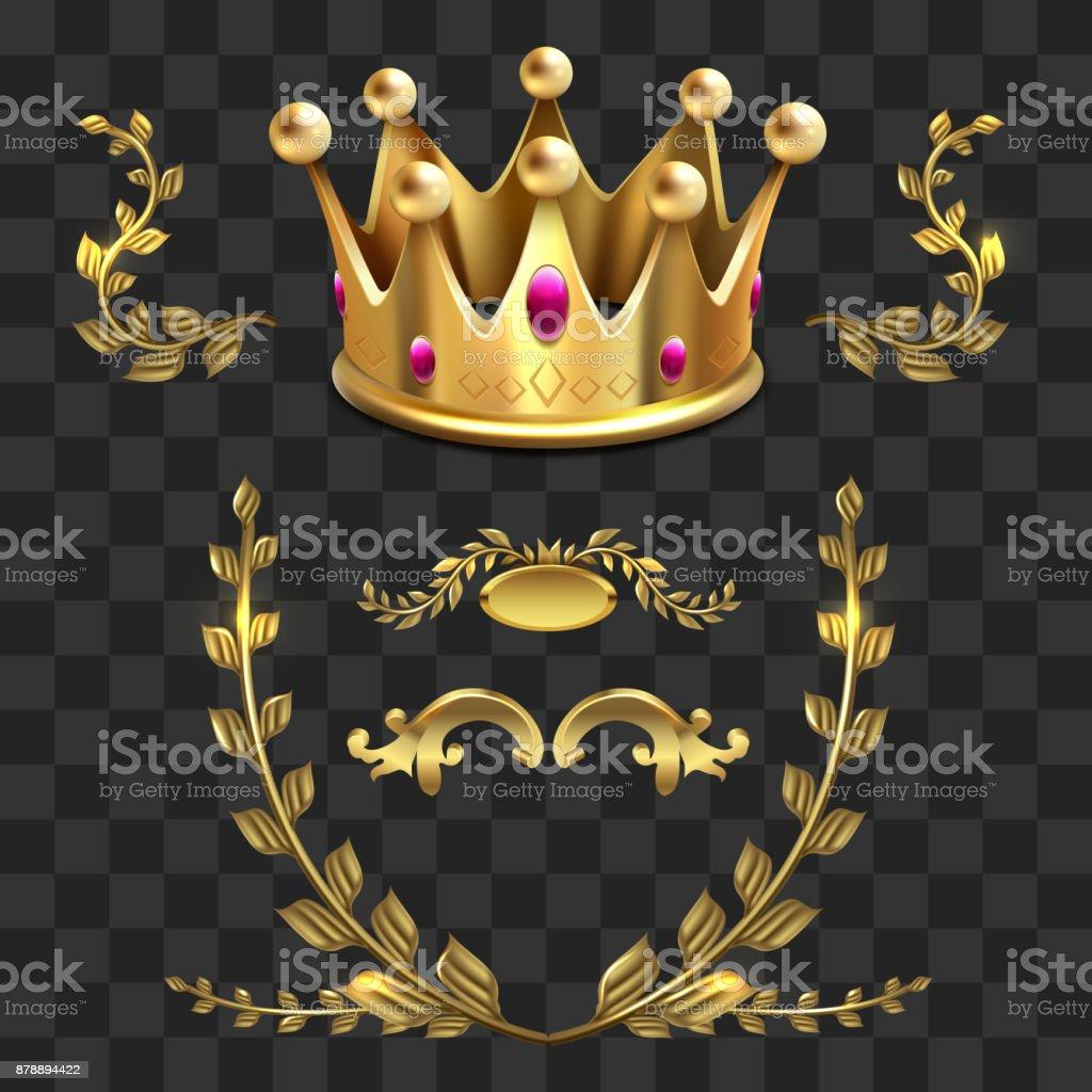 Ilustración de Elementos Heráldicos De Oro Vector Reyes Corona ...