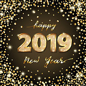 Golden Vector luxury text 2019 Happy new year. Gold Festive Numbers Design, diamonds texture. Gold shining glitter confetti. Happy New Year square Banner, 2019 Numbers for greeting card, calendar 2019