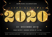 Golden Vector luxury text 2020 Happy new year. Gold Festive Numbers Design, diamonds texture. Gold shining glitter confetti. Happy New Year Banner with 2020 Numbers for greeting card, calendar 2020