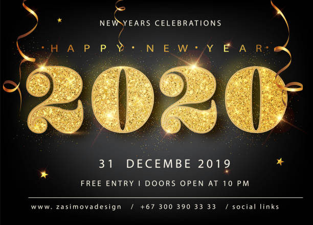 Golden Vector luxury text 2020 Happy new year. Gold Festive Numbers Design, diamonds texture. Gold shining glitter confetti. Happy New Year Banner with 2020 Numbers for greeting card, calendar 2020. Golden Vector luxury text 2020 Happy new year. Gold Festive Numbers Design, diamonds texture. Gold shining glitter confetti. Happy New Year Banner with 2020 Numbers for greeting card, calendar 2020 2020 stock illustrations