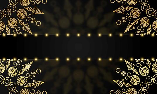 Golden vector mandala isolated on black background. stock illustration