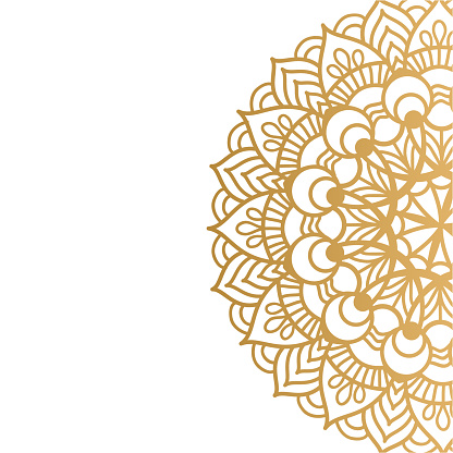 Golden vector mandala isolated on white background. A symbol of life and health.