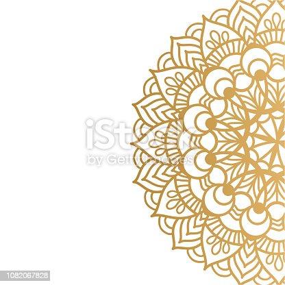 Mandala de ouro vetor isolado no fundo branco. Um símbolo de vida e saúde.