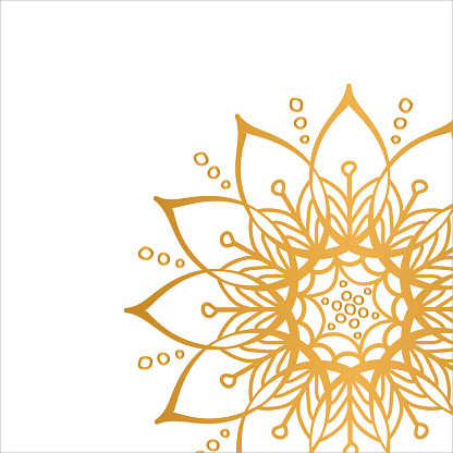 Golden vector mandala isolated on white background. Clean white cover with gold beautiful flower.