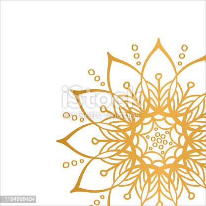 istock Golden vector mandala isolated on white background. Clean white cover with gold beautiful flower. 1194995404