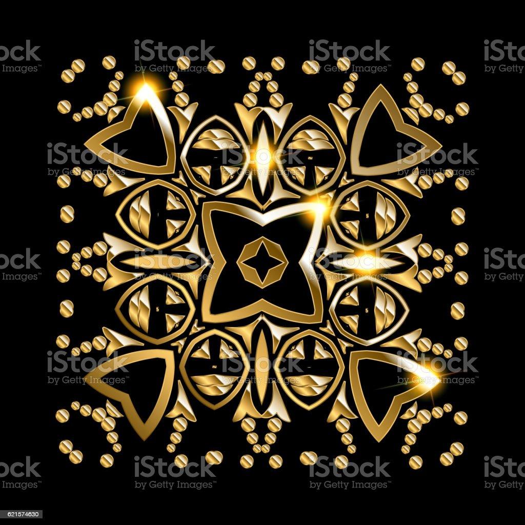 Golden vector mandala golden vector mandala – cliparts vectoriels et plus d'images de abstrait libre de droits