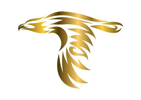 Golden vector symbol of eagle that is flying.