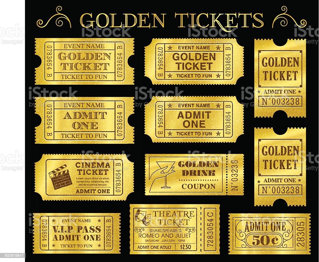 Golden Vector Ticket Templates vector art illustration