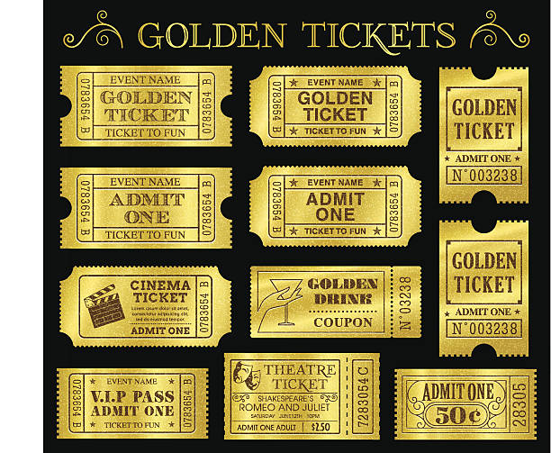 Golden Vector Ticket Templates Set of eleven golden vector tickets and coupons templates. Vector file is organized in layers to separate Graphic elements from texture and text. admit one stock illustrations