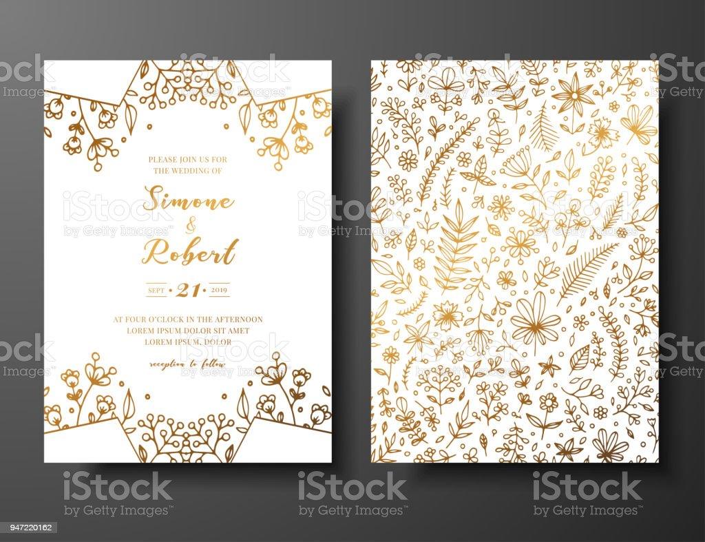 Ilustración De Invitación De La Boda De Oro Vector Mano