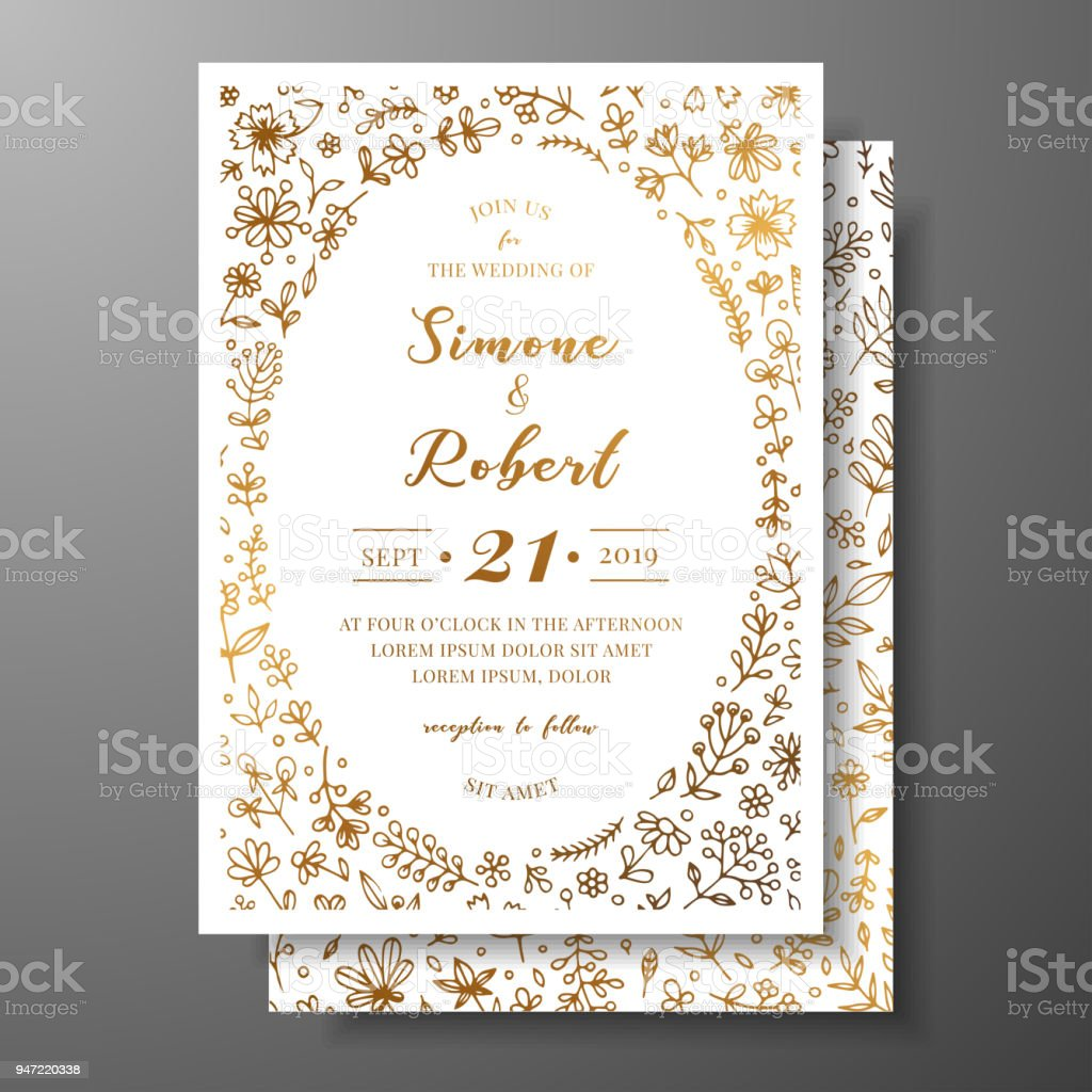 Golden Vector Wedding Invitation With Hand Drawn Twigs Flowers And