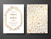 Golden vector wedding invitation with hand drawn twigs, flowers and brahches. Golden botanical template for wedding invite, save the date card, greeting card, place for your text, printable