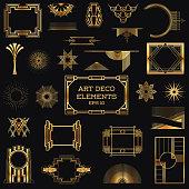 Golden vintage art deco elements
