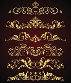Golden vintage elements and borders set for ornate and decoration. Floral swirl design spa and royal logo elements