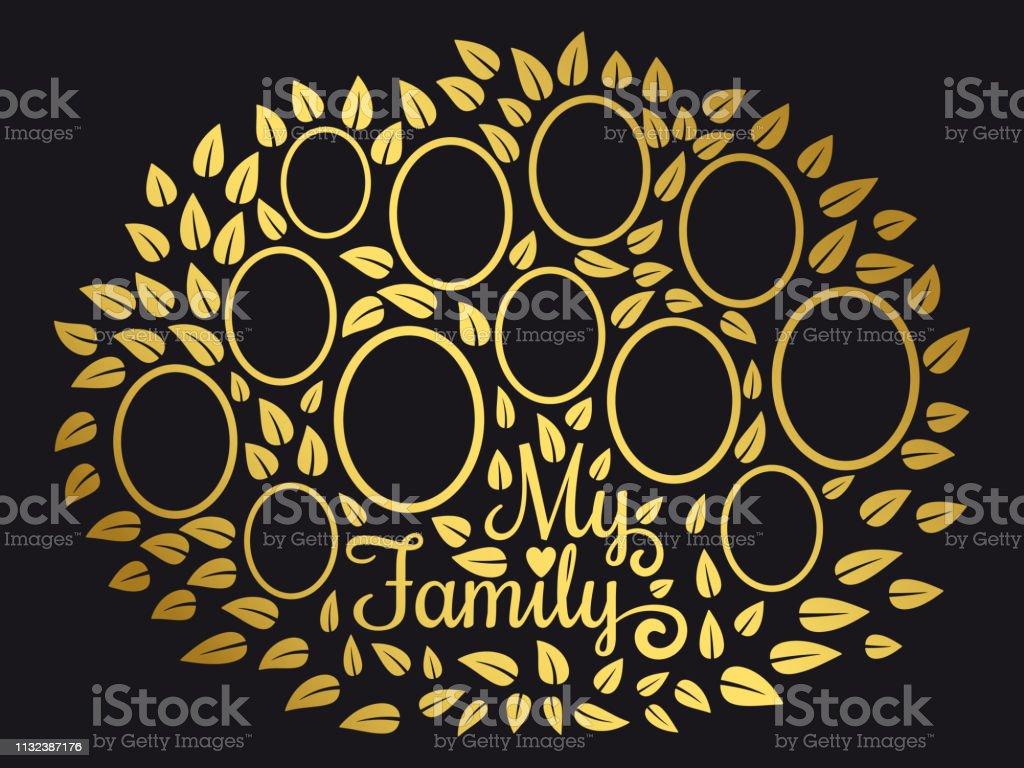 Golden Vintage Genealogy Tree Genealogical Family Tree Vector Illustration On Black Background Stock Illustration Download Image Now Istock