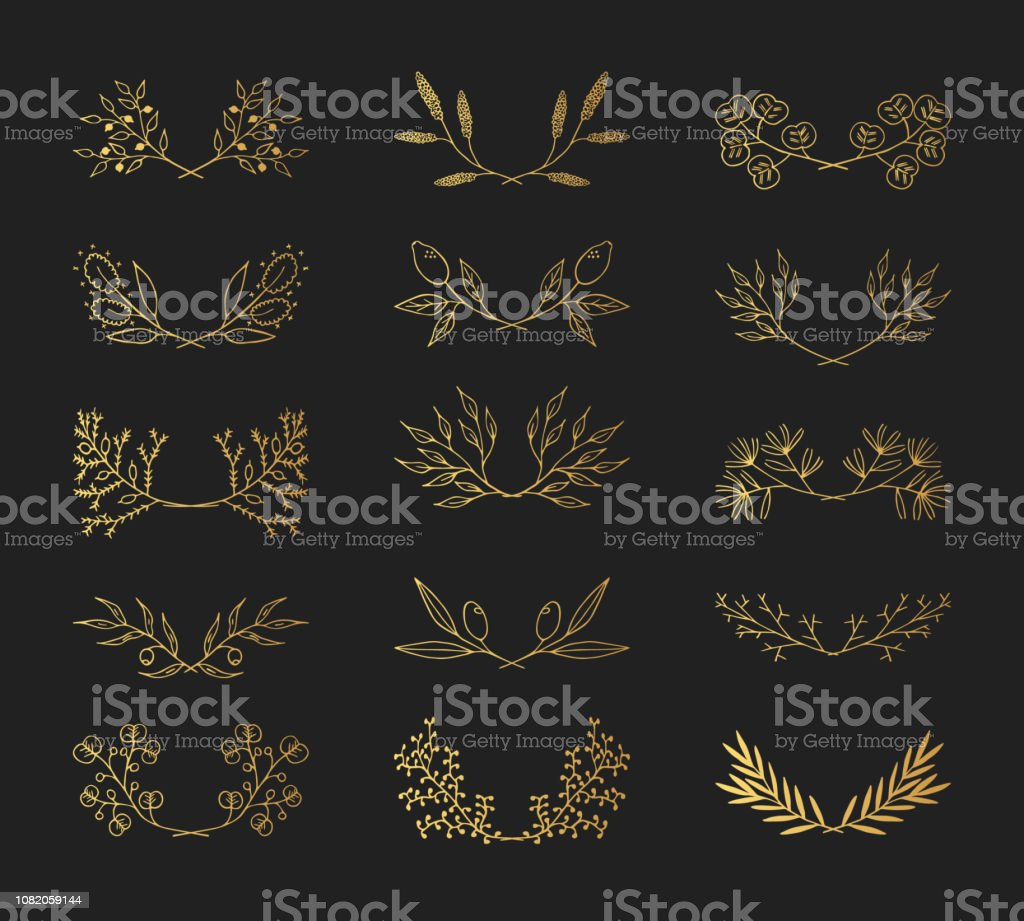 385812798067 Golden vintage hand drawn floral laurel borders. Vector isolated elements.  Wedding gold flourish dividers for invitation card. - Illustration .