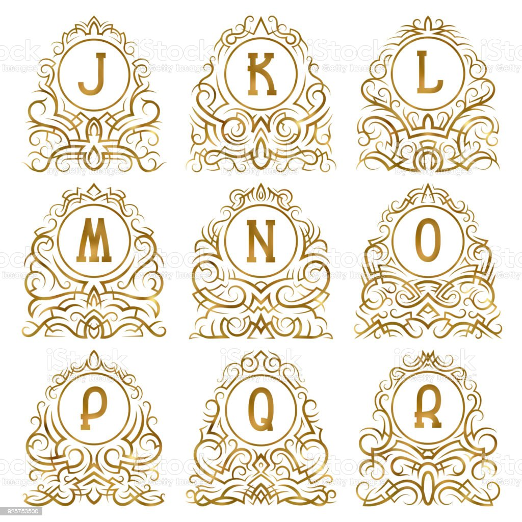 Ilustración de Golden Vintage Monogramas De Letras De J A R En ...
