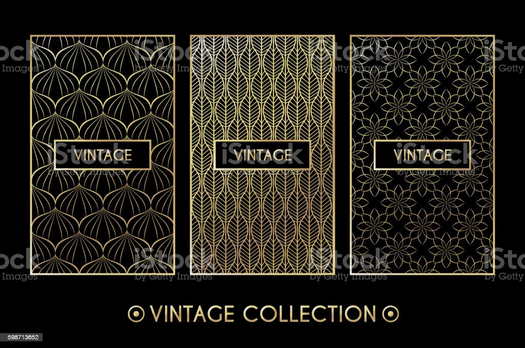 Golden vintage pattern on black background - ilustración de arte vectorial