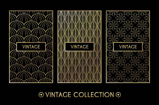Golden vintage pattern on black background vector art illustration