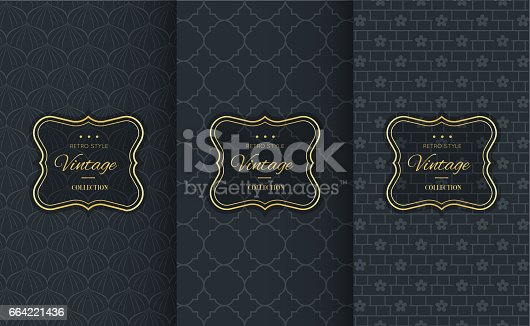istock Golden vintage pattern on black background 664221436