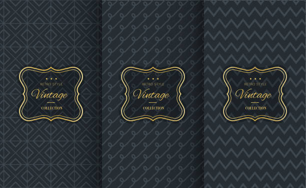 golden vintage pattern on black background - fine dining stock illustrations, clip art, cartoons, & icons