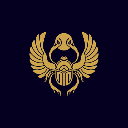 golden vintage sacred ancient scarab vector icon