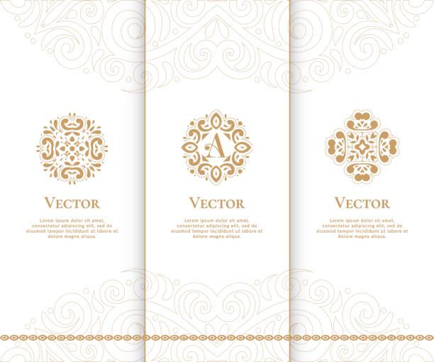 stockillustraties, clipart, cartoons en iconen met gouden vintage vector embleem. mooi ornament set. kan worden gebruikt voor sieraden, beauty en mode-industrie. - turkse cultuur