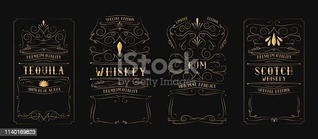 Golden vintage whiskey, rum, tequila, scotch label for bottle with lettering. Hand drawn alcohol frame. Gold typography border.