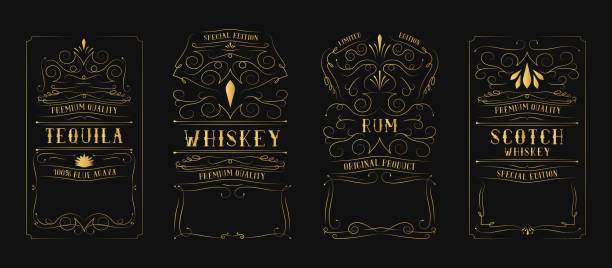 golden vintage whiskey, rum, tequila, scotch label for bottle with lettering. hand drawn alcohol frame. gold typography border. - zbiornik wytworzony przedmiot stock illustrations