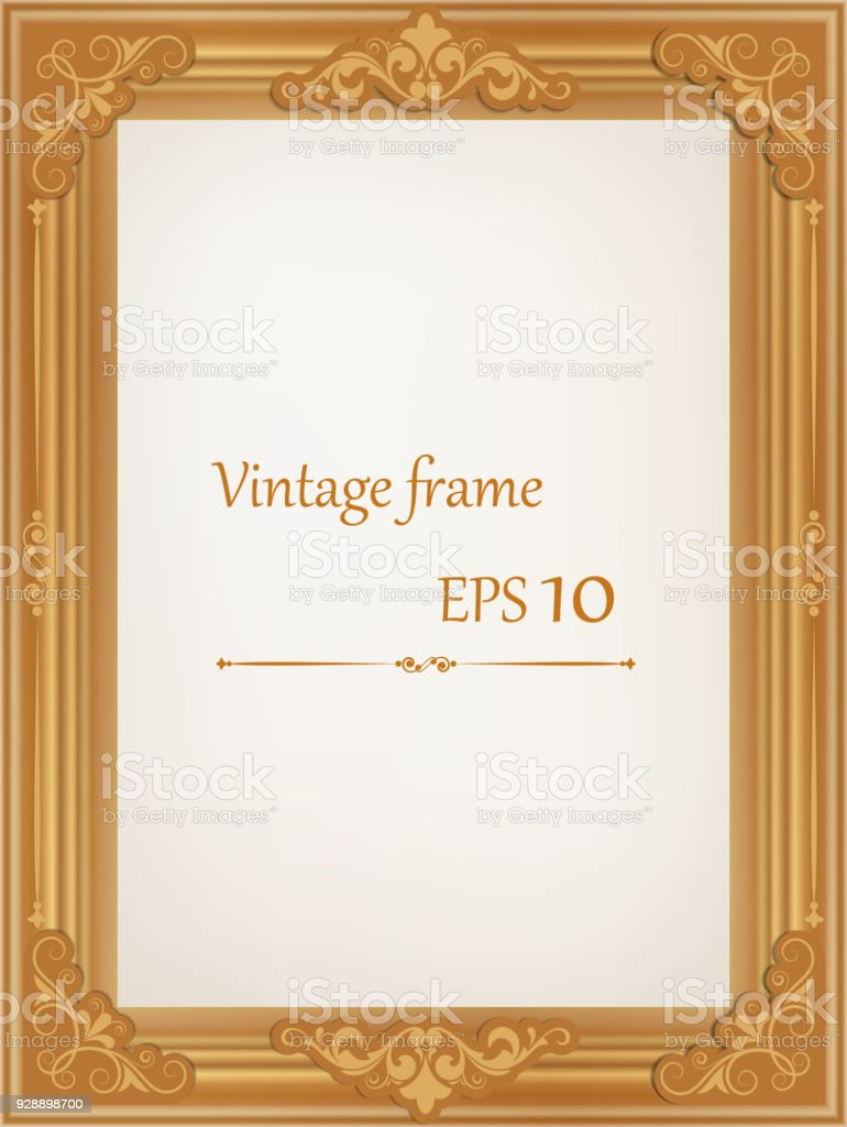 Golden Vintage Wood Frame   Illustration .