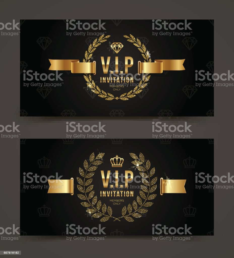 golden vip invitation template stock vector art more images of