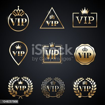 Golden VIP label set isolated on dark background. Symbol of exclusivity. Vip icons with crown, frame and laurel wreath. Luxury premium badge. Decoration elements for your design. Vector eps 10.