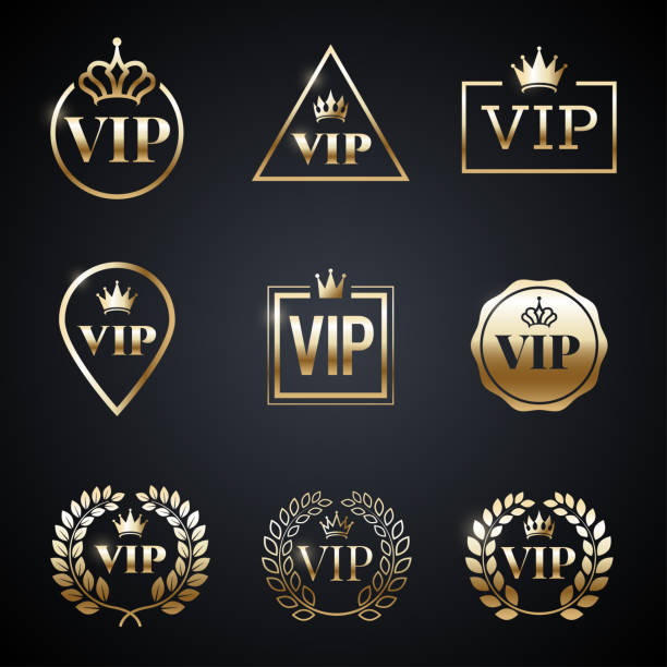 Golden VIP label set isolated on dark background. Symbol of exclusivity. Vip icons with crown, frame and laurel wreath. Luxury premium badge. Decoration elements for your design. Vector eps 10. Golden VIP label set isolated on dark background. Symbol of exclusivity. Vip icons with crown, frame and laurel wreath. Luxury premium badge. Decoration elements for your design. Vector eps 10. celebrities stock illustrations